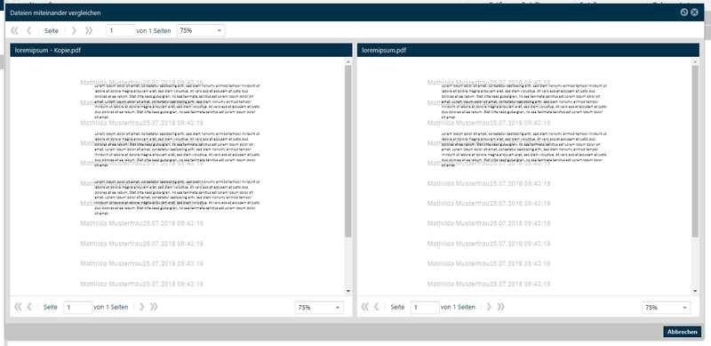 docurex Datenraum: Dokumente vergleichen
